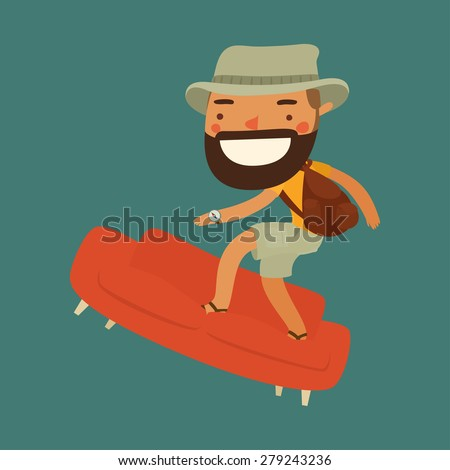 couchsurfing character. traveler character. vector illustration - stock vector