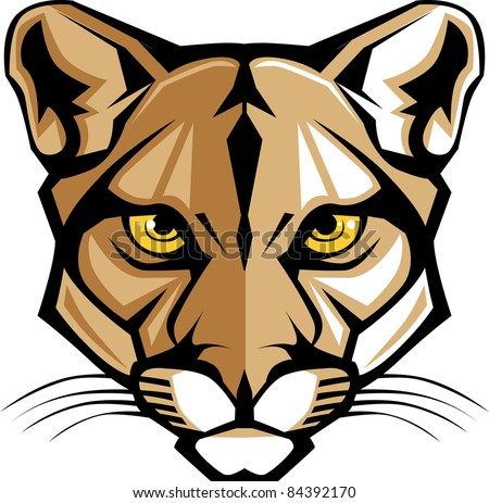 Cougar Panther Mascot Head Vector Graphic - stock vector