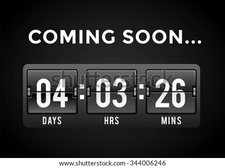 Countdown clock digits board panels timer. Website timer counter. Sale opening soon. New year, Christmas timer sale. Vector mechanical timer. Black Friday timer. Vector website timer banner. Web timer