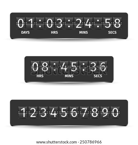 Countdown clock timer analog display mechanical time indicator black vector illustration - stock vector