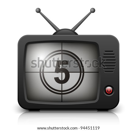 Countdown on the Retro TV screen. Vector illustration - stock vector