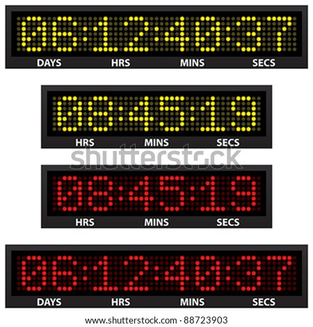 countdown timer (all numbers available) - stock vector
