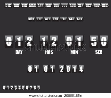 Countdown Timer and Date on black background - stock vector