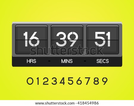 Countdown Timer for the website. Square section. Hours, minutes, seconds. yellow background. Vector drawing