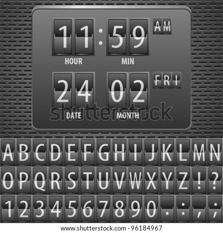 Countdown Timer on the Mechanical Timetable with Alphabet on Metal Plate, vector illustration - stock vector