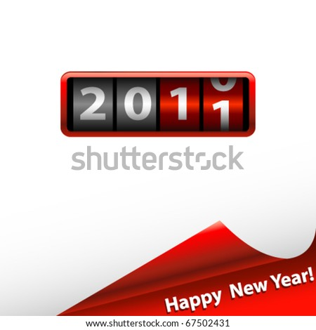 counter with 2011 and red corner - stock vector