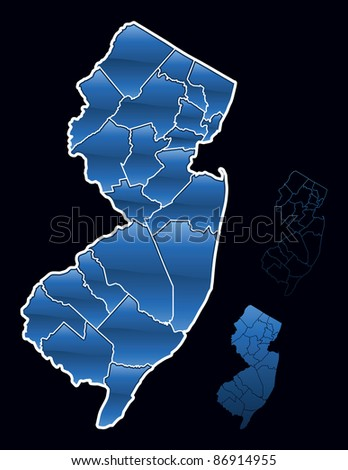 Counties of New Jersey - stock vector