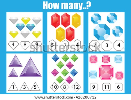 Counting educational children game. How many objects task, choose the right answer. Learning mathematics, numbers, addition theme - stock vector