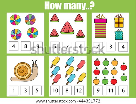 Counting educational children game. How many objects task. Learning mathematics, numbers, addition theme - stock vector