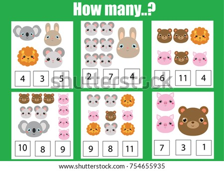 Counting Educational Children Game Math Kids Stock Photo (Photo ...