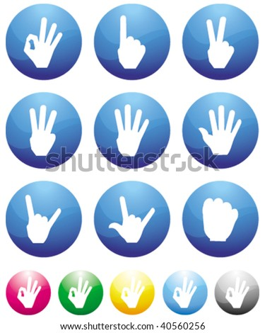 counting finger blue button icons