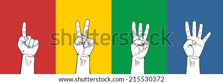 Counting Fingers 1-2-3-4  : 4 Colors red yellow green blue - stock vector