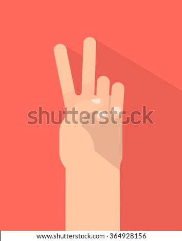 Counting fingers - number two. Hand showing two fingers, peace sign. Communication gestures concept. Vector illustration isolated on colorful background with shadow flat design. - stock vector