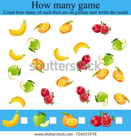 Counting Game Preschool Children Learning Mathematics Stock Vector ...