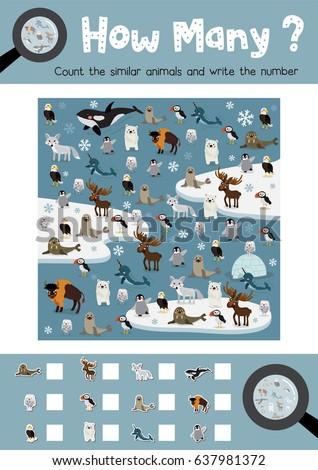 Counting Game Arctic Animals Preschool Kids Stock Photo (Photo ...