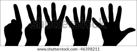 counting hands from one to five on white background - illustration - stock vector