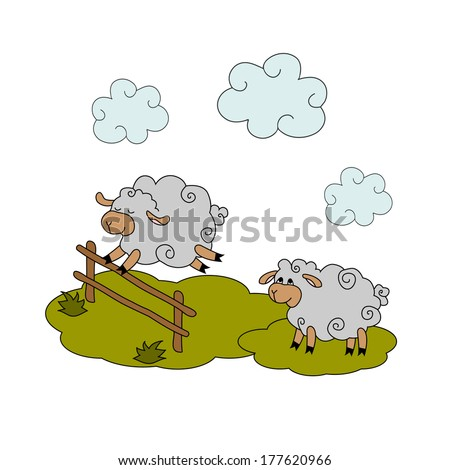 counting sheep - stock vector
