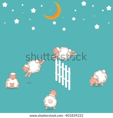 Counting Sheep Jumping Over the Fence - stock vector