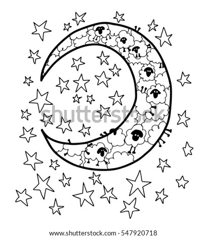 coloring page of stars. Counting Sheep Moon in Stars Blank Coloring Page Hand Drawn Doodle Stock Vector 547920718