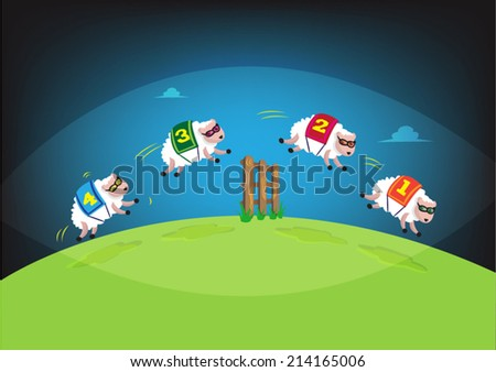 Counting Sheep  to Sleep within eye frame. Battling Insomnia concept.  - stock vector