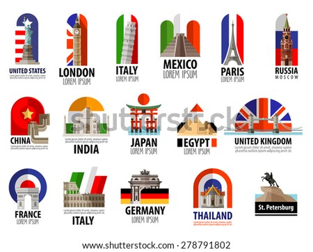 countries of the world vector logo design template. travel, journey or flag icon. - stock vector