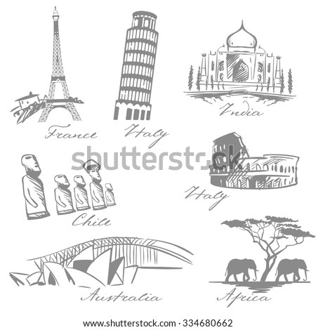 countries symbols sketch: France, Italy, India, Chile, Africa, Australia. Vector illustration