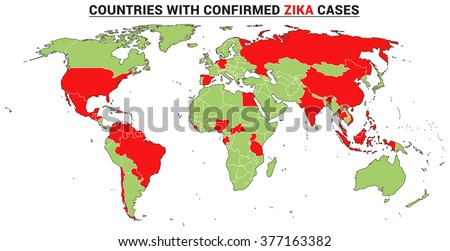 Countries with confirmed Zika virus cases. Vector world map with fully editable layers. Data from WHO February 2016. - stock vector