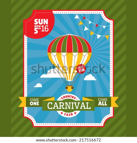 Country fair invitation card vector illustration - stock vector