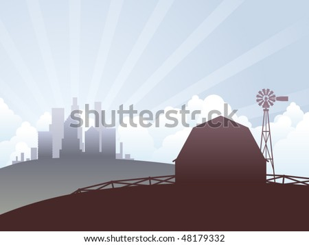 Country farm and city skyscrapers landscape illustration - stock vector