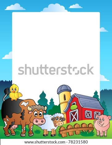 Country frame with red barn 1 - vector illustration. - stock vector