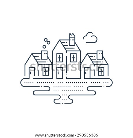 Country houses. Peaceful tiny village. Riverside cottages. Home stay at a lake. - stock vector