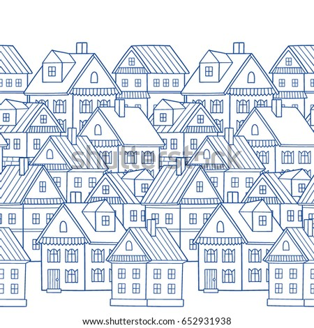 Country houses seamless vector border pattern stock vector for House pattern