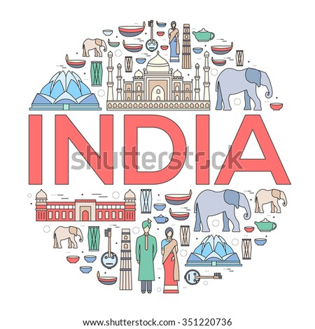Country India travel vacation guide of goods, places and features. Set of architecture, fashion, people, items, nature background concept. Infographics template design for web and mobile on thin lines - stock vector