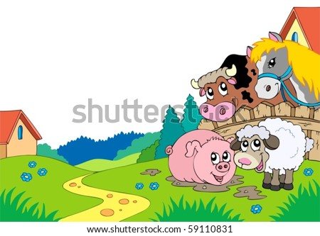 Country landscape with farm animals - vector illustration. - stock vector