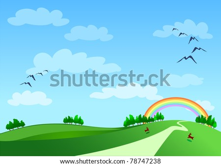 Country landscape with rainbow, vector - stock vector