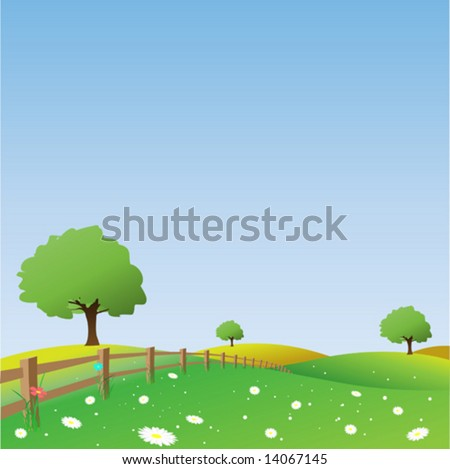 Country Landscape with Trees and Fence - stock vector