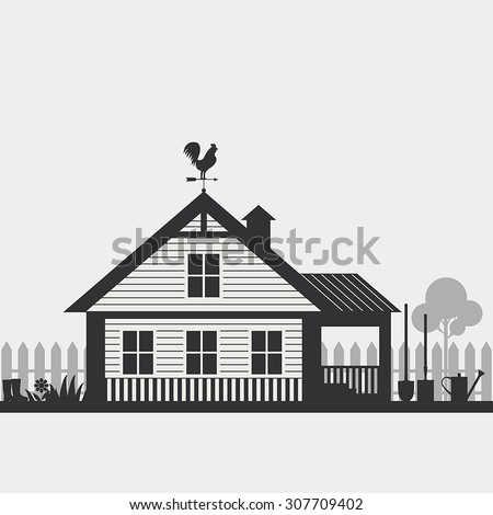 Country life. House with fence and Garden accessorie. - stock vector