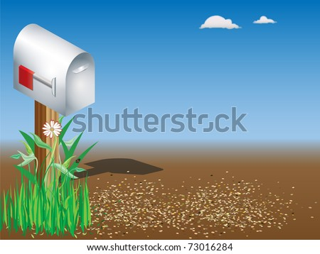 Country mailbox with gravel road - stock vector