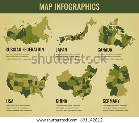 Country Maps Infographic Template Usa Japan Canada China Germany Saudi