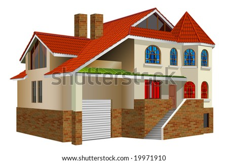 Country private residence, house with greater windows and red tile