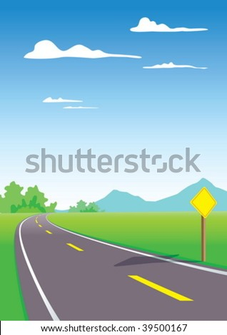 Country roads with sign - stock vector