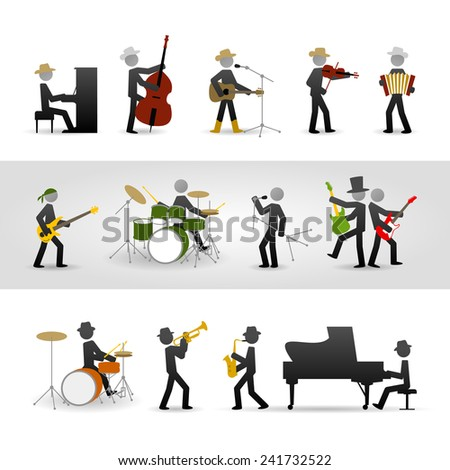 Country, rock and jazz band. Eps10 - stock vector