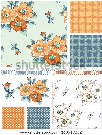 Country Rose Floral Vector Patterns.  Use as pattern fills to create stunning items for art and craft projects. - stock vector