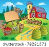 Country scene with red barn 5 - vector illustration. - stock vector