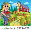 Country scene with red barn 7 - vector illustration. - stock vector