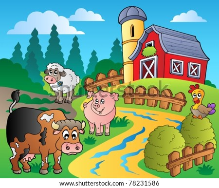 Country scene with red barn 1 - vector illustration. - stock vector