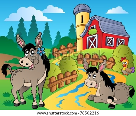 Country scene with red barn 8 - vector illustration. - stock vector
