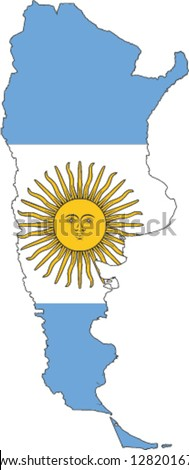 Country shape outlined and filled with the flag of Argentina - stock vector