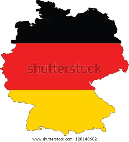 Country shape outlined and filled with the flag of Germany