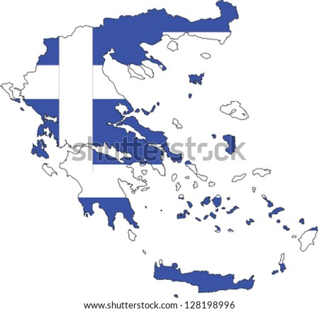 Country shape outlined and filled with the flag of Greece - stock vector